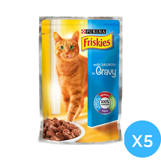 Purina Friskies with Salmon in Gravey Cat Food Single Serve Pouch, 100g X 5 pack