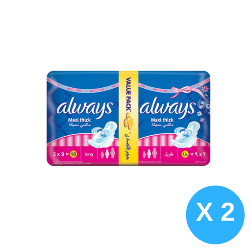 ALWAYS maxi thick long, 36 ct - Pack of 4 Pieces