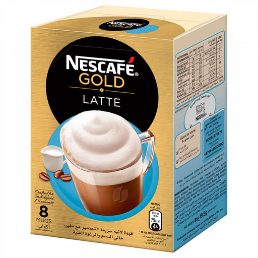 NESCAFE GOLD LATTE Instant Foaming Coffee Mix - 19.5 gm x 8 Sticks - Talabac