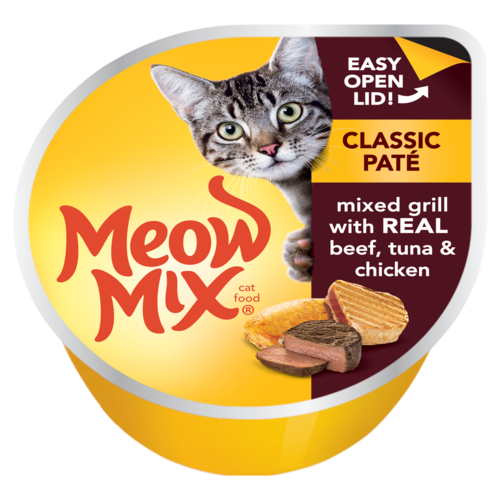 Meow Mix Classic Paté Mixed Grill with Real Beef, Tuna & Chicken 78g - Talabac