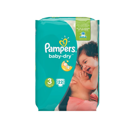 Pampers baby-dry Size 3, 4-9 kg, 22 Count (Made in Britain) - Talabac