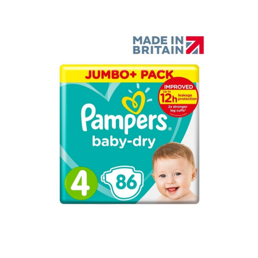 Pampers baby-dry Size 4, 86 Count, 9-14 kg (Made in Britain) - Talabac