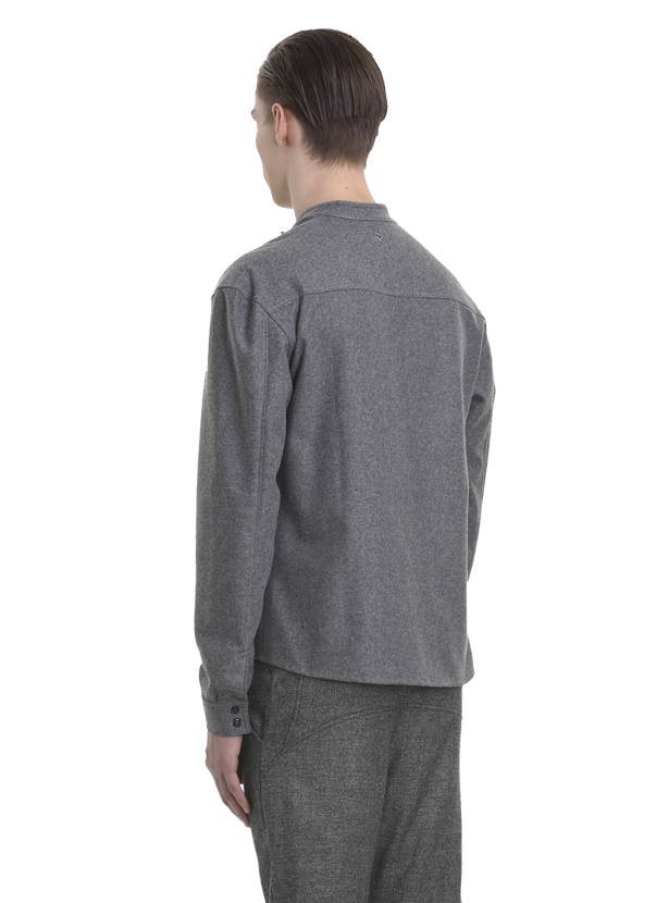loarre oversized wool flannel shirt gray