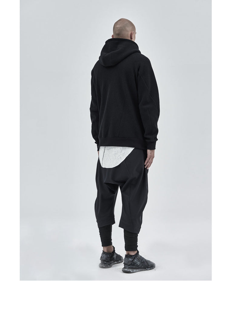 ehitu textured cotton hoodie black