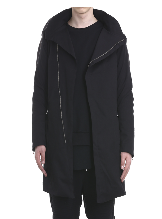 arroka asymmetrical coat black