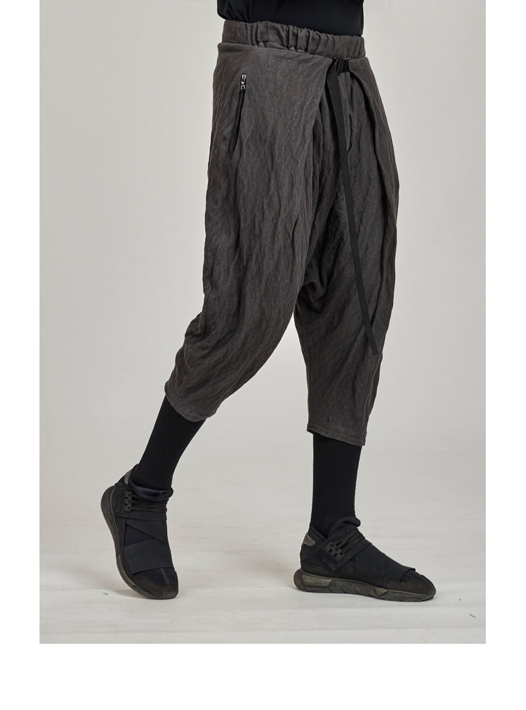 aldatze dropcrotch j-shaped pants cold dyed grey