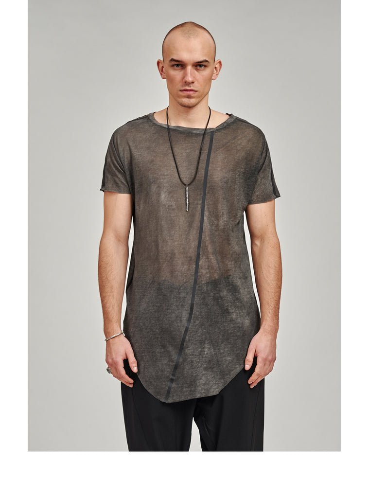 zain asymmetrical round bottom seamless tee grey