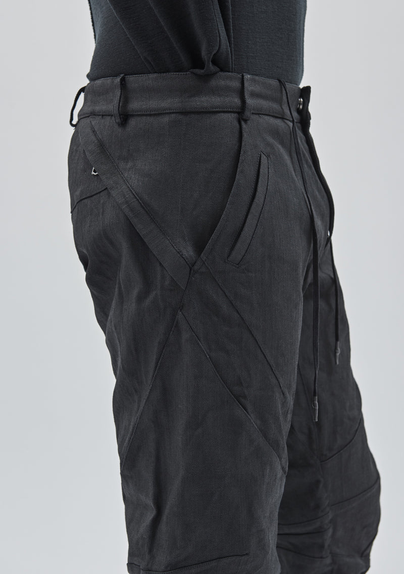 ameztu articulated pants coated denim