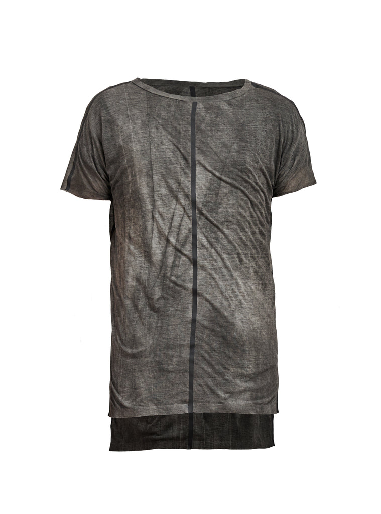 lerro side slit seamless tee grey