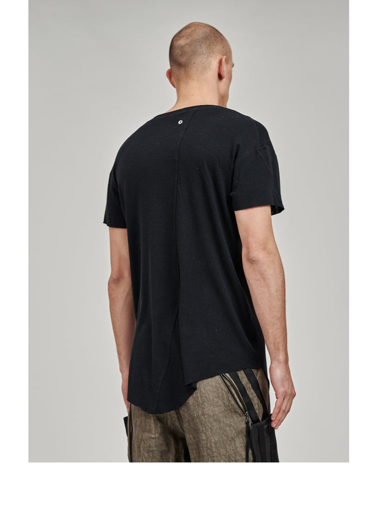 zain asymmetrical round bottom merino tee black