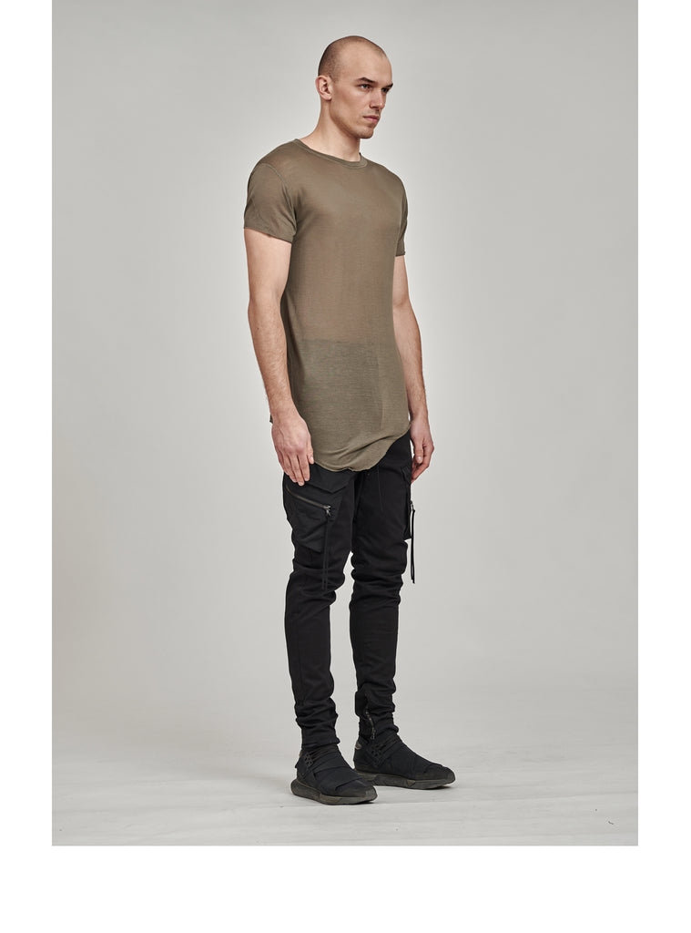 zain asymmetrical round bottom tee olive