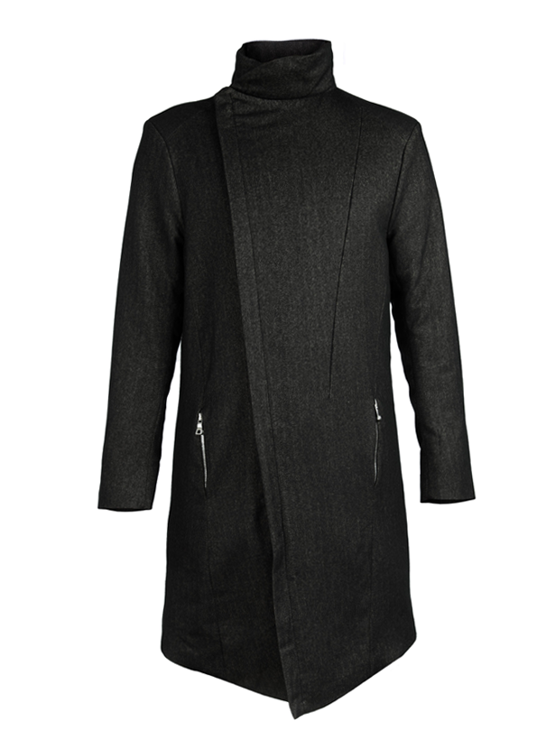arroka silk herringbone asymmetrical coat