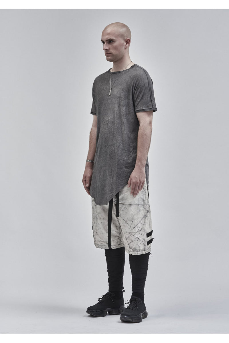 zain asymmetrical round bottom tee cold dyed grey