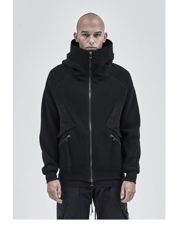 orio high collar hoodie textured cotton