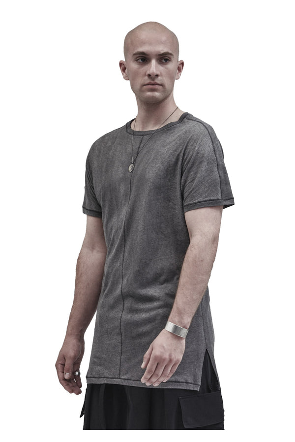 lerro side slit tee cold dyed grey