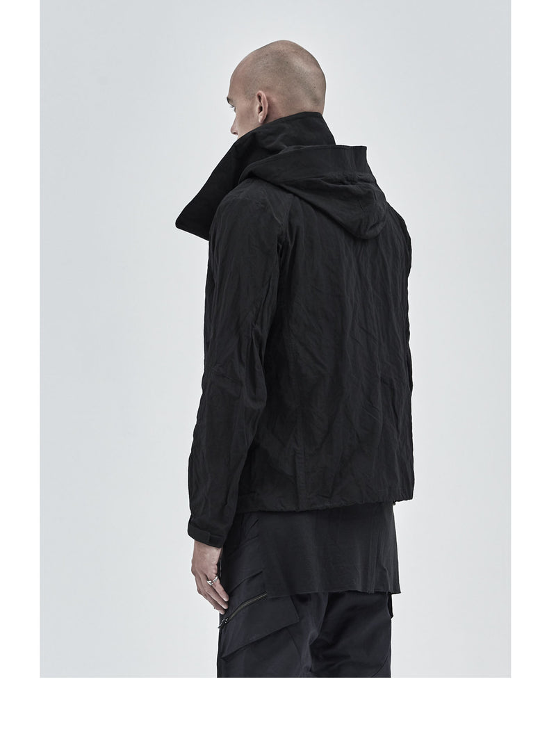 eurria asymmetrical polyester/metal shell jacket