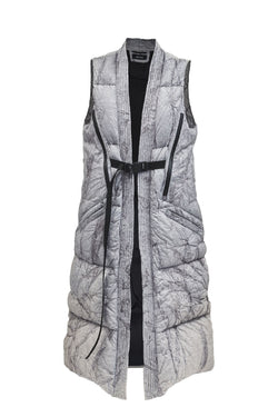 deslai long puffer vest burned tyvek