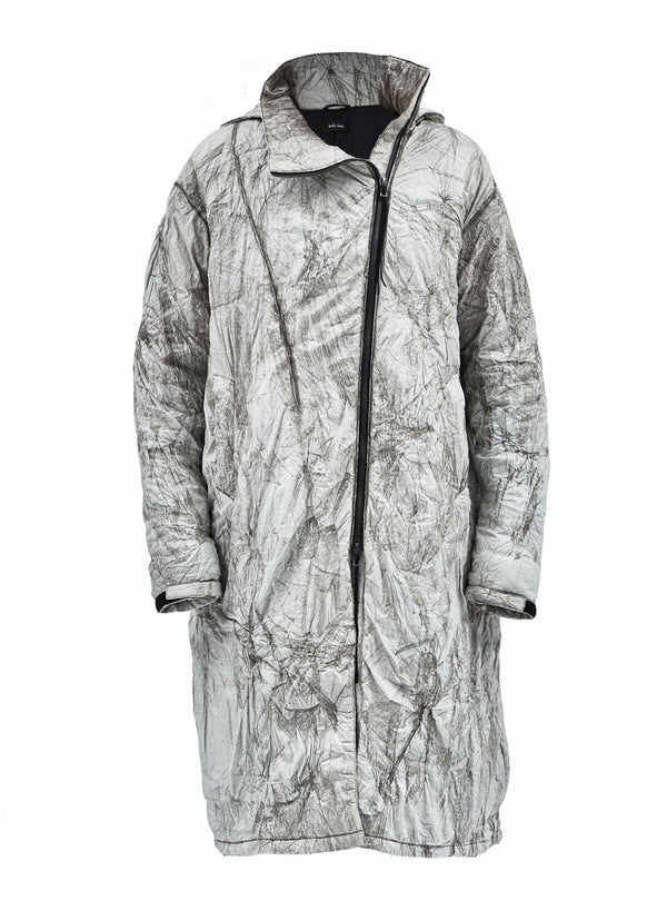 nagore burnt tyvek asymmetrical coat