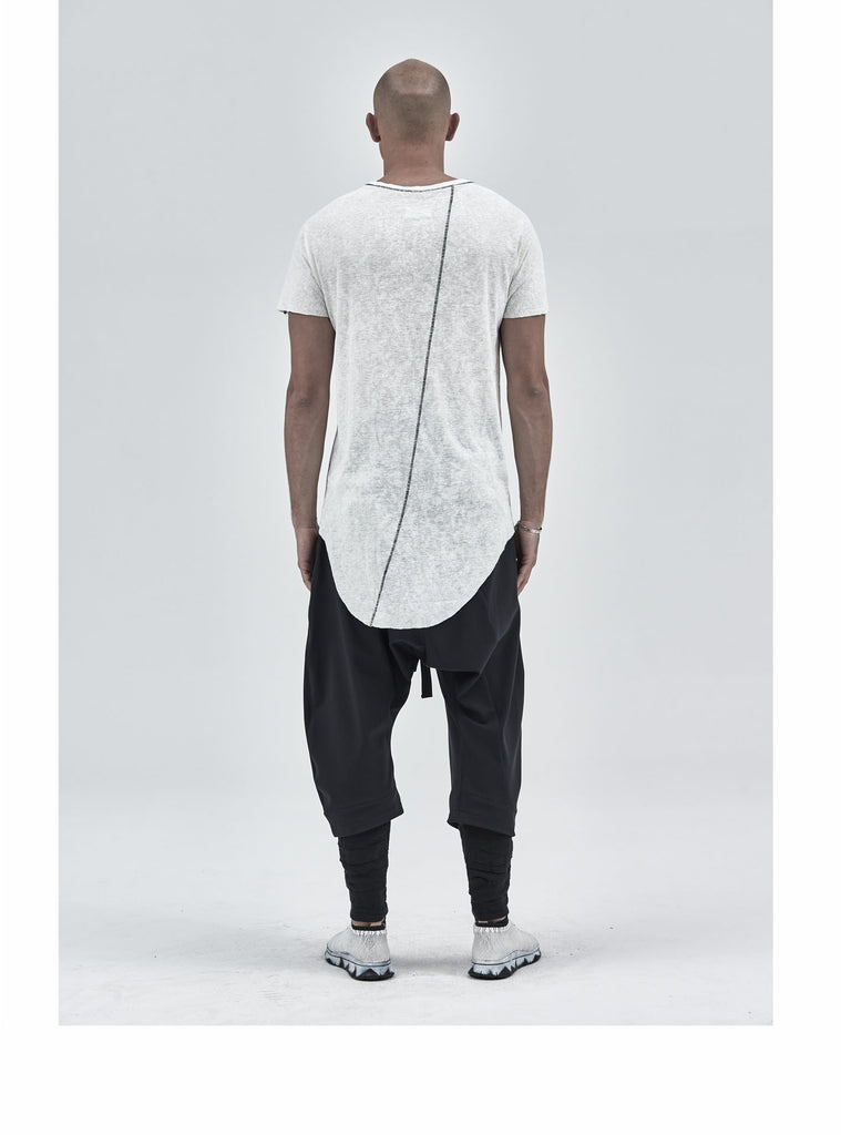 zain asymmetrical round bottom tee snow