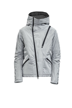 leioa asymmetrical insulated jacket aluminium