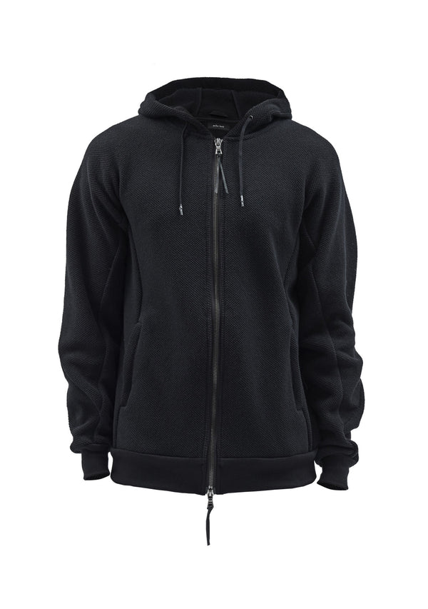 biziraun textured cotton zipped hoodie