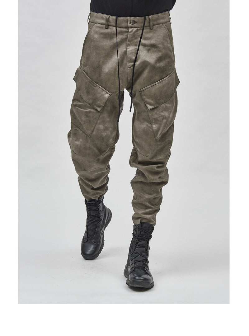 aurrean cargo pants camo dye cotton twill