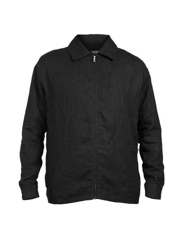 irisa washed linen jacket black