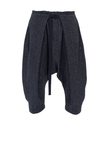 aldatze dropcrotch j-shaped pants silk/wool herringbone