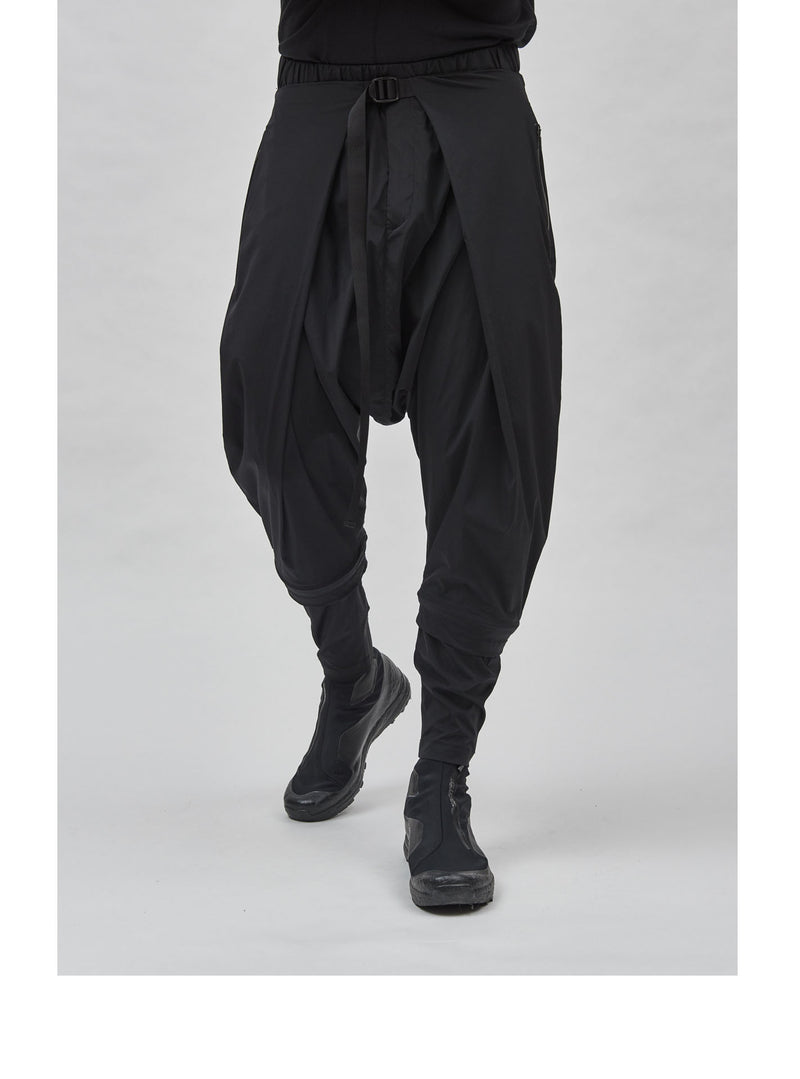 aldatze dropcrotch j-shaped technical poplin pants