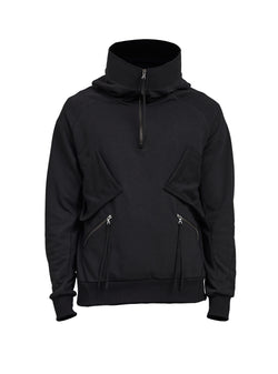 zumaia high collar hoodie black/grey/beige
