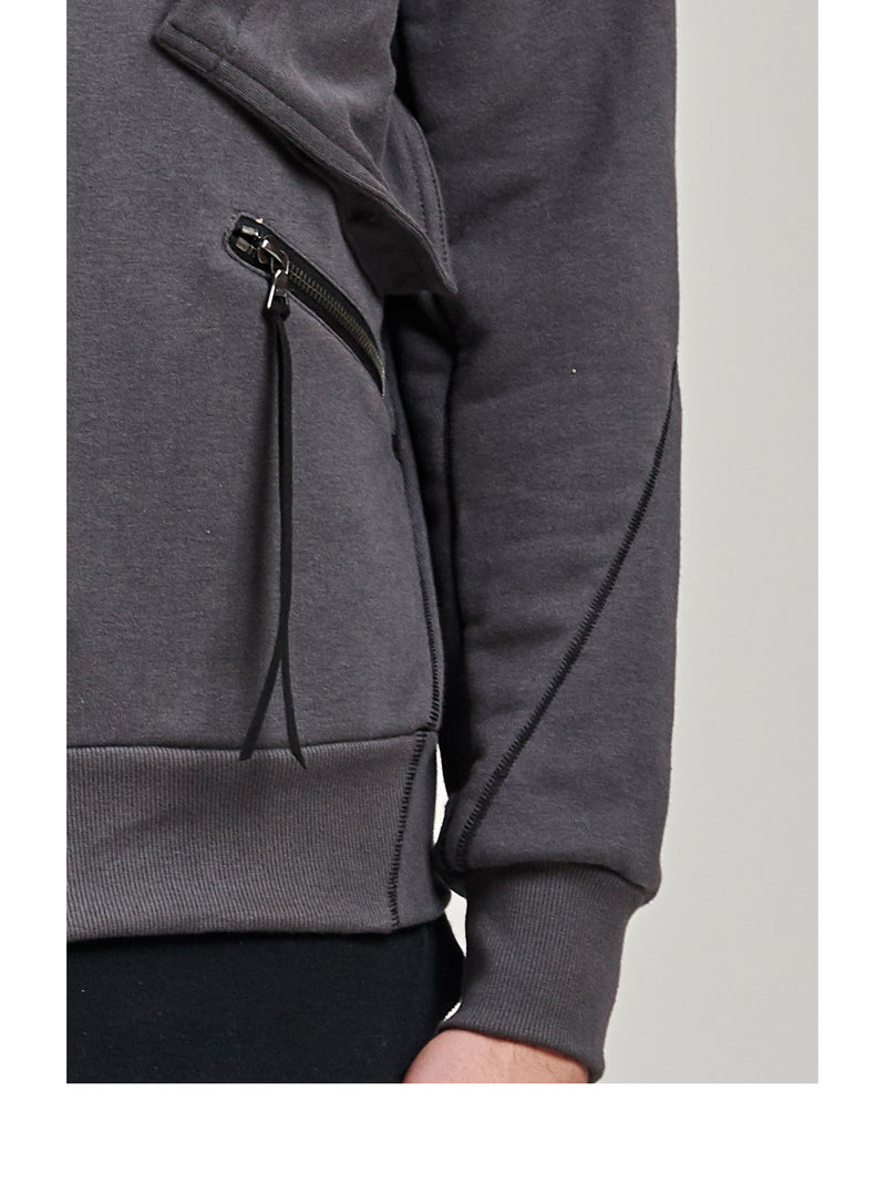 orio high collar hoodie black/grey/beige