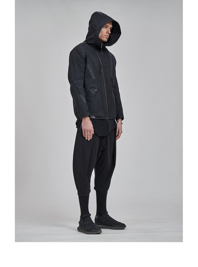 leioa asymmetrical distressed jacket black