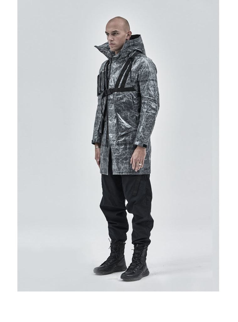 leioa asymmetrical coat black dyneema