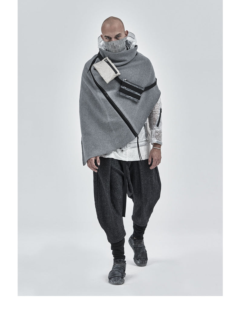 alza textured cotton poncho grey