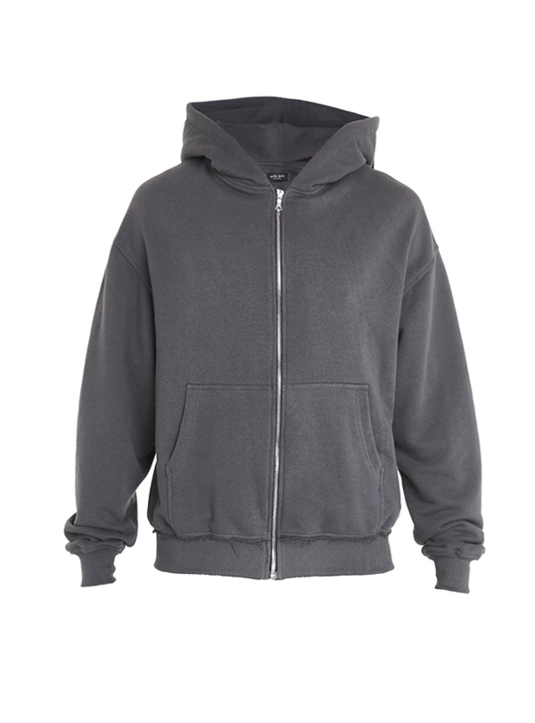 aribe oversized zipped sweatshirt grey