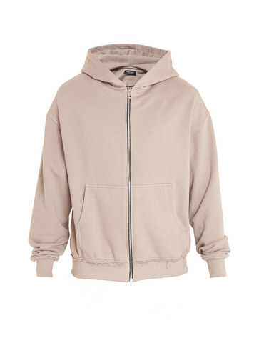 aribe oversized zipped sweatshirt beige
