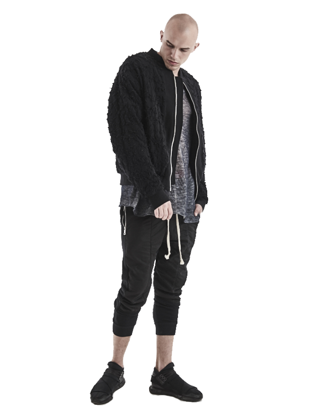 arette distressed sherpa bomber jacket