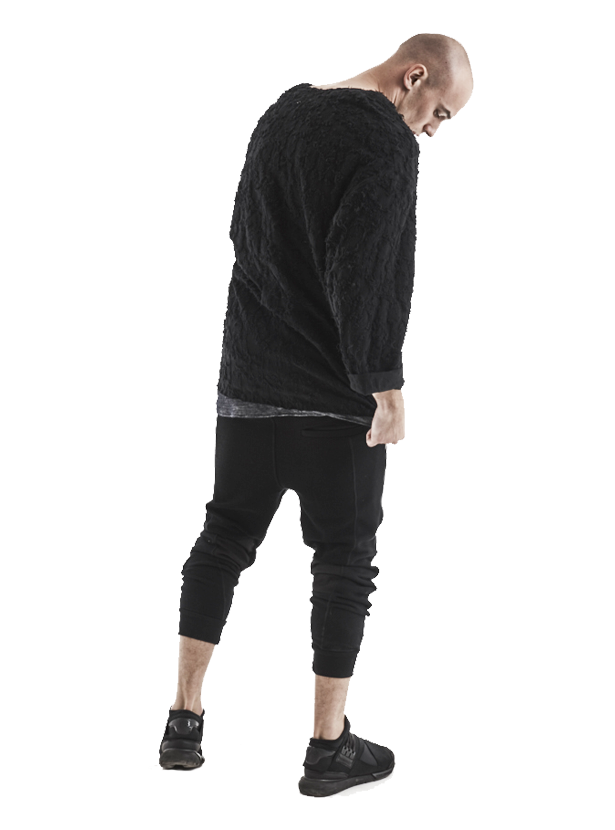 imiriz distressed sherpa zipped crewneck