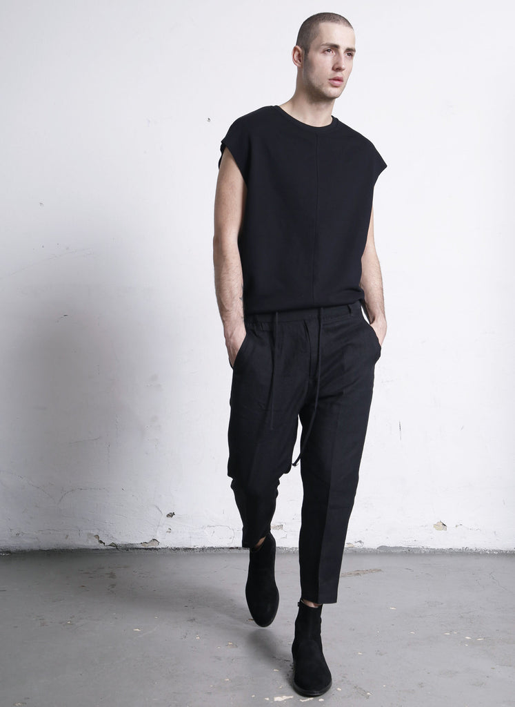 iranzu linen cropped pants black
