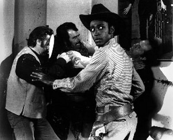 Blazing Saddles with Cowboy Fighting Scene Excerpt from Film Premium Art Print