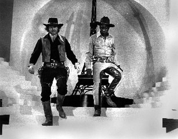 Blazing Saddles Two Cowboys standing Scene Excerpt from Film Premium Art Print