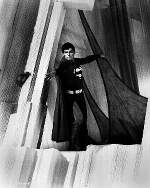 Superman Grabbing Scene Excerpt from Film in Black and White Premium Art Print
