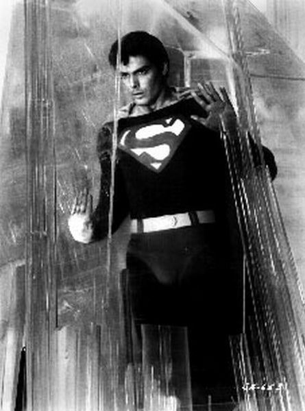 Superman Leaning on Glass in Black and White Premium Art Print