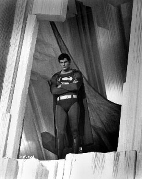 Superman standing with Arms Crossed Excerpt from Film in Black and White Premium Art Print
