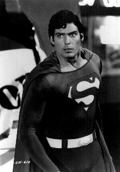Superman Looking Shocked Excerpt from Film in Black and White Premium Art Print