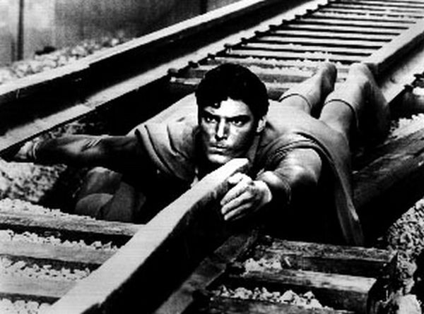 Superman Filling in Broken Railway Excerpt from Film in Black and White Premium Art Print