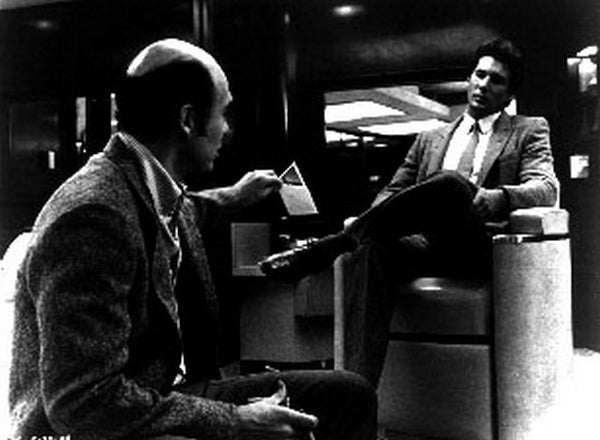 American Gigolo Bald Man Talking to a Guy in a Classic Movie Scene Premium Art Print