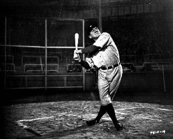 Movie Scene of Babe Ruth Story in Black and White Portrait Premium Art Print