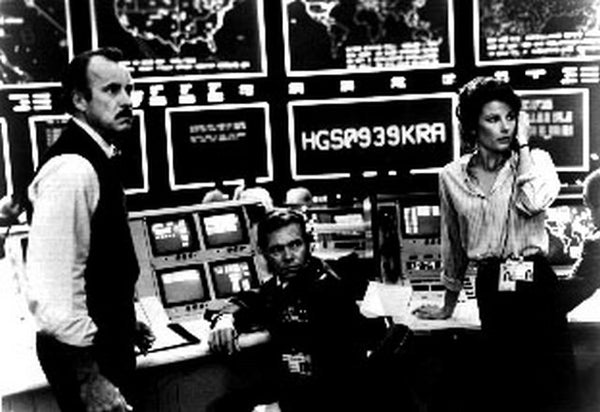 War Games Three People Looking Frightened in Black and White Premium Art Print