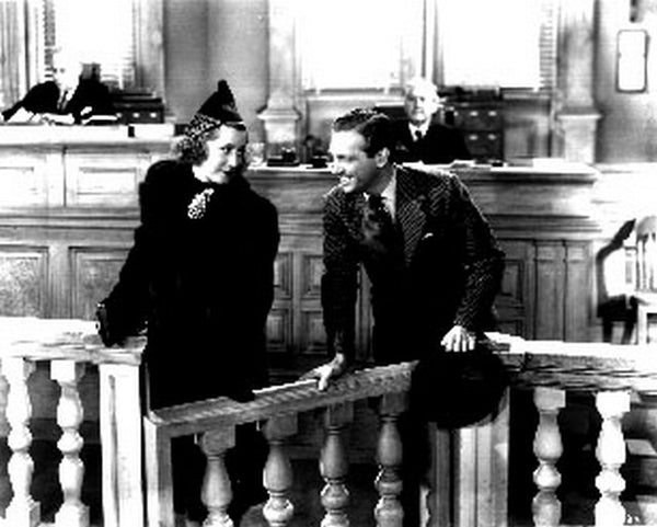 Joy Of Living A Man and A Woman Talking with a Woman Inside the Court House in a Classic Movie Scene Premium Art Print